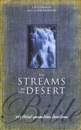 NIV Streams in the Desert Bible: 365 Thirst-Quenching Devotions, Black
