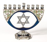 Star of David Enamel Hanukkah Menorah