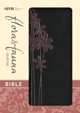 NIV Flora and Fauna Collection Bible, Compact, Italian Duo-Tone, Black with Pink Metallic Flowers - Imperfectly Imprinted Bibles