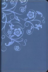 NIV Flora and Fauna Collection Bible, Compact, Italian Duo-Tone, Marina Blue/Floral - Imperfectly Imprinted Bibles