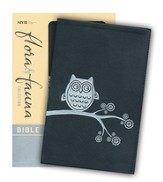 NIV Flora and Fauna Collection Bible, Italian Duo-Tone, Black/Silver Owl