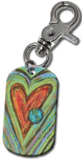 Heart and Globe Clip-On Key Ring