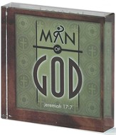 Man of God Glass Block