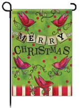Merry Christmas Flag, Birds with Banner, Garden Size