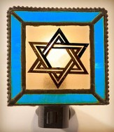 Star of David Night Light w/Blue Border