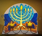Hand Painted Glass Menorah Candle Holder W/ Two Tea Light Candles