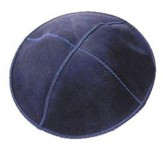 Dark Blue Suede Leather Kippah