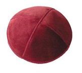 Red Suede Leather Kippah