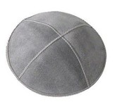 Gray Suede Leather Kippah