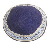 Navy Blue White Trim Crocheted Kippah