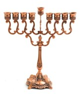 Scroll Branched Hanukkah Menorah Copper Finish
