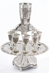 Kiddush Wine Fountain, 8 Goblets, Silverplated