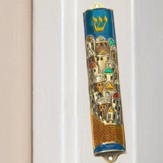 Jerusalem Mezuzah w/Shin Painted Pewter