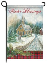 Winter Blessings Garden Flag, Church Glitter