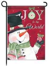 Joy to the World Snowman Flag, Garden Size
