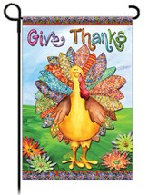 Give Thanks Garden Flag, Quilt Turkey Glitter