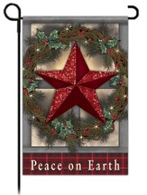 Peace on Earth Garden Flag, Country Star Glitter