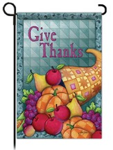 Give Thanks Cornucopia Flag, Garden Size
