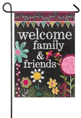 Welcome Family and Friends, Chalkboard Flag, Small