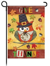 Give Thanks Owl Flag, Small