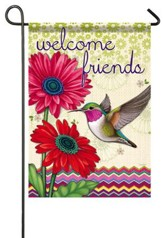 Welcome Friends, Hummingbird Glory Flag, Small