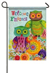 Welcome Friends, Friendly Owl Flag, Small