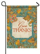 Give Thanks, Leaves Flag With Glitter, Small
