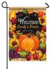 Welcome Family & Friends, Pumpkin Flag, Small