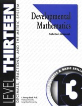 Developmental Math, Level 13, Solution Manual