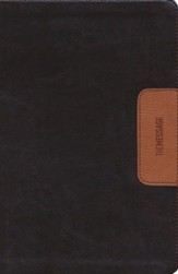Message Slimline Bible--soft leather-look, brown/tan