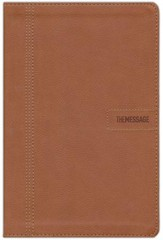 Message Slimline Bible--soft leather-look, brown