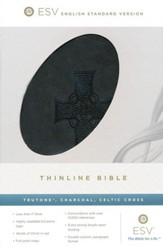 ESV Classic Thinline, Imitation Leather Charcoal With Celtic Cross Design - Imperfectly Imprinted Bibles