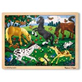 Frolicking Horses, 48-Piece Wooden Jigsaw Puzzle with Tray