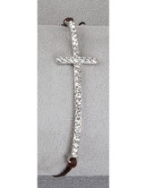 Stone Cross Bracelet Brown Thread, Silver Cross