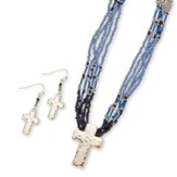 Bead Cross Necklace and Earrings Set, Silver and Blue
