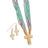 Bead Cross Necklace and Earrings Set, Gold and Multi