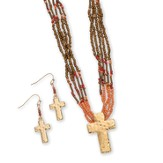 Bead Cross Necklace and Earrings Set, Gold and Coral