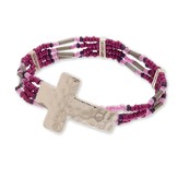 Hammered Cross Bead Bracelet, Silver and Purple