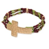 Hammered Cross Bead Bracelet, Gold and Burgundy