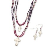 Beaded Double Cross Necklace and Earrings Set, Silver and Purple
