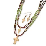 Beaded Double Cross Necklace and Earrings Set, Gold and Brown