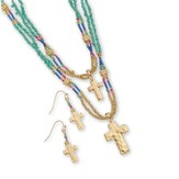Beaded Double Cross Necklace and Earrings Set, Gold and Multi