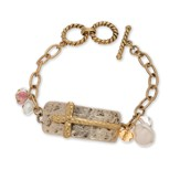 Cross and Plaque Toggle Bracelet, Gold