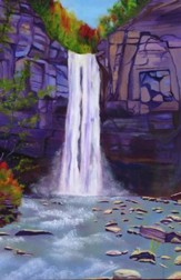Waterfall in Autumn Note Card