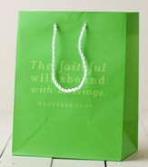 The Faithful Will Abound Gift Bag, Green, Medium