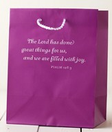The Lord Has Done Great Things Gift Bag, Purple, Medium