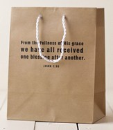 Fullness of His Grace Gift Bag, tan, Medium