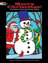 Merry Christmas! Stained Glass Coloring Book Deluxe Edition