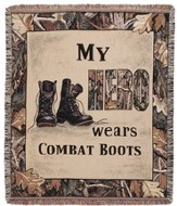 My Hero Wears Combat Boots Throw