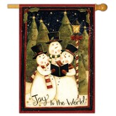 Joy to the World Snowmen Flag, Large
